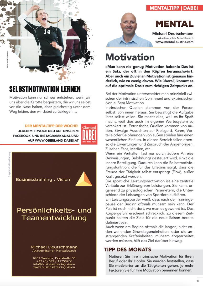 Akademischer Mentalcoach Michael Deutschmann - Mental-Kolumne - Oberland DABEI - April 2021 - Motivation - Mentaltraining - Mentalcoaching - Mentaltrainer - Mentalcoach - Supervision - Supervisor - Hypnose - Businesstraining - Führungskräftetraining - Teamtraining - Businesscoaching - Führungskräftecoaching - Teamcoaching - Gruppendynamik